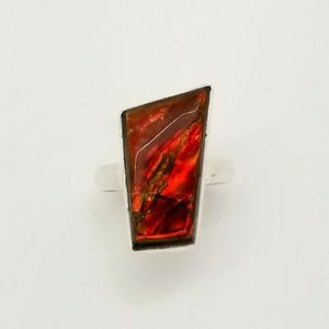 Genuine Ammolite Ring Sz 8